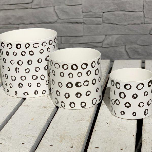 Übertopf Keramik Zylindertopf, Dekor black&white Kreise Bild 1
