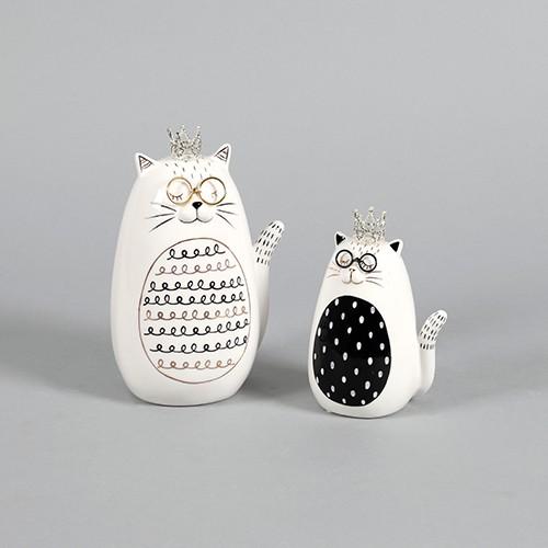 """Figur Keramik Katze """"Lucy"""" sitzend mit Krone & Brille Bild 1"""