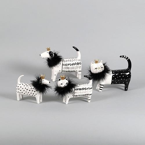 Figur Keramik Hund/Katze mit Plüschkragen schwarz / weiß Bild 1