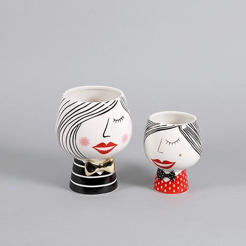 """Übertopf Keramik Pflanz-Kopf """"Sophia"""" bauchig Bild 1"""