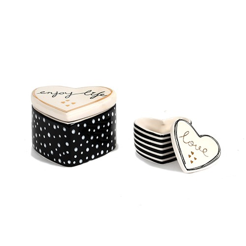 Keramik Herz-Dose, schwarz/weiß Bild 1