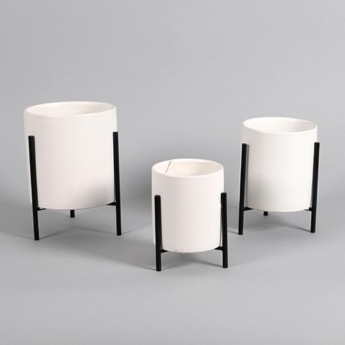 Keramik Zylindertopf weiß / schwarz Bild 1