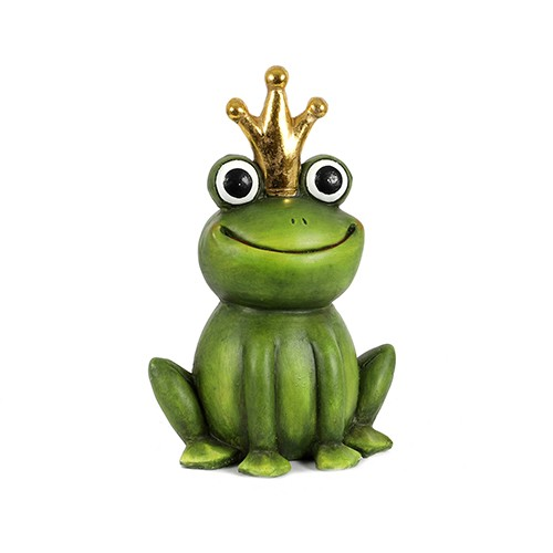 "Figur Magnesia Frosch-König ""funny smile"" grün, Krone in gold Bild 1"