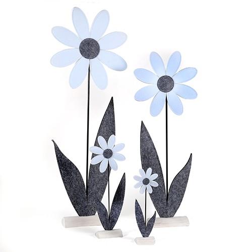 Margerite, Filz auf Holzbase,grau-weiss Bild 1