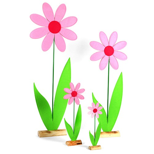 Margerite, Filz auf Holzbase, rosa-pink Bild 1