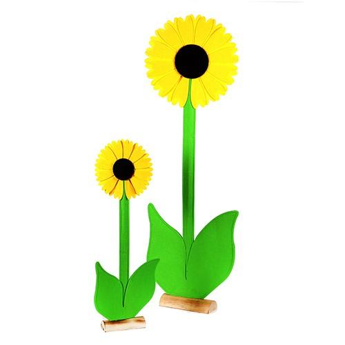 Sonnenblume auf Holzbase,Filz Bild 1
