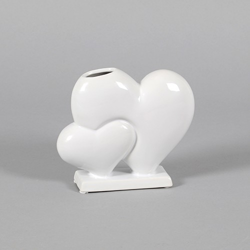 "Keramik-Herzvase ""Sophia"" auf Sockel weiß glasiert Bild 1"