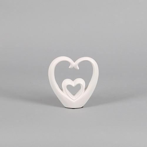 Keramik Deko-Herz stehend, zweites Herz integriert, weiß matt Bild 1