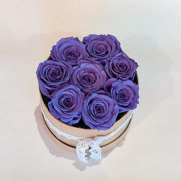 B 3    Rosenbox mit 6-7 lila gefriergetrockneten Rosen ,  ca 14 cm Durchmesser Bild 2