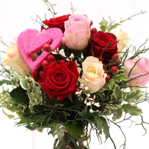 Strauß mit verschiedenen Rosen rosa-rot-creme Bild 1