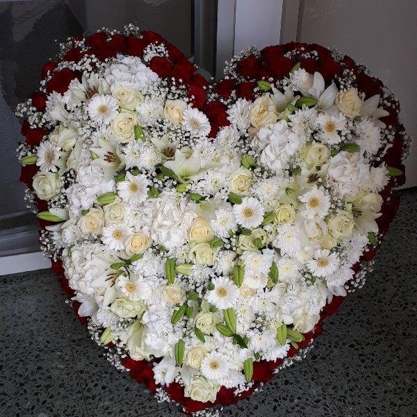 """Florales Herz stehend, """"Für immer im Herzen"""" XXL Bild 1"""