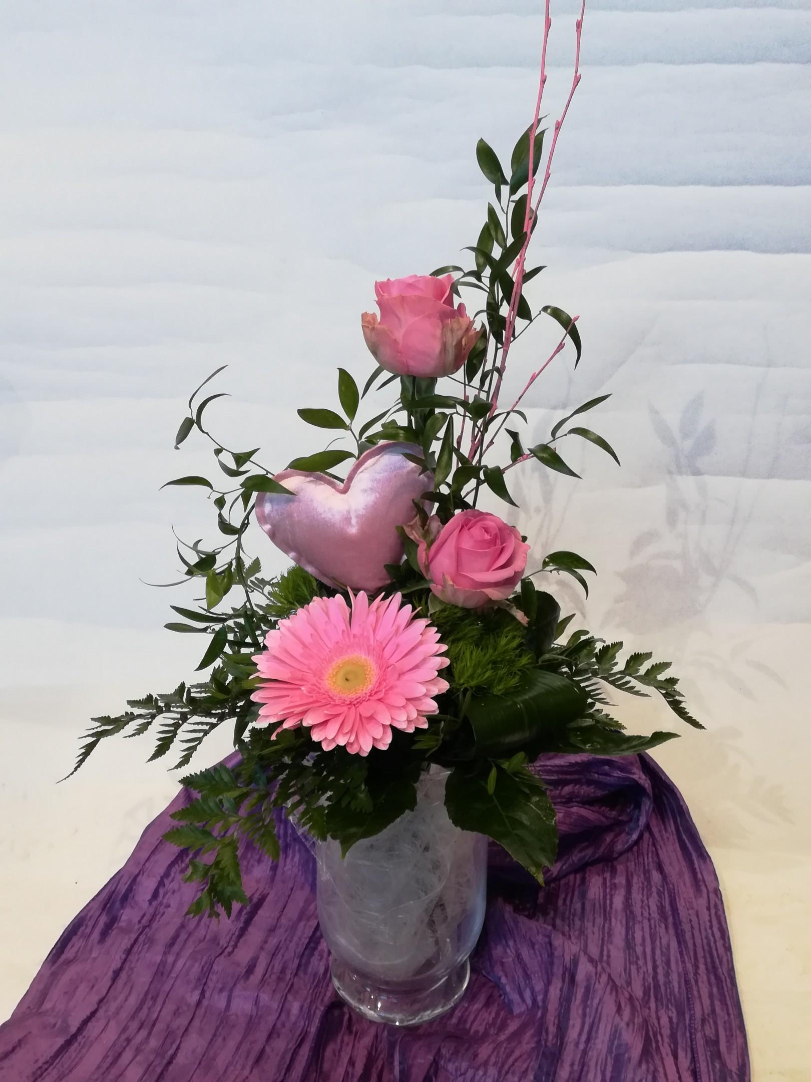 V1  Strauß rosa mit Herz Bild 1