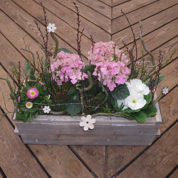 Blumenschale im Holztopf Bild 1