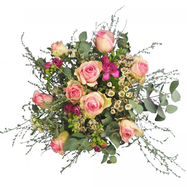 Strauß mit Rosen und Freesien Bild 1