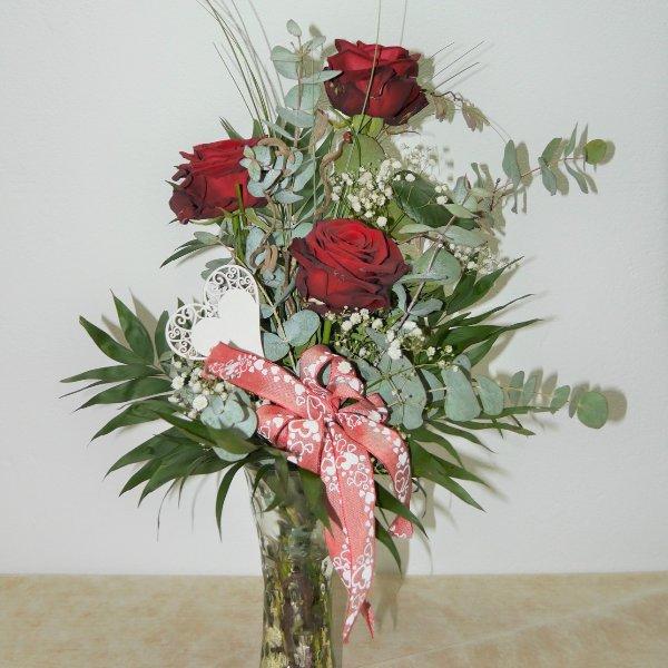 Rosengruß 3 Rosen mit Vase Bild 1