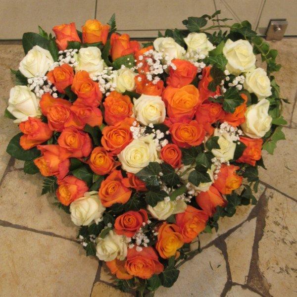 Blütenherz, orange-weiß Bild 1