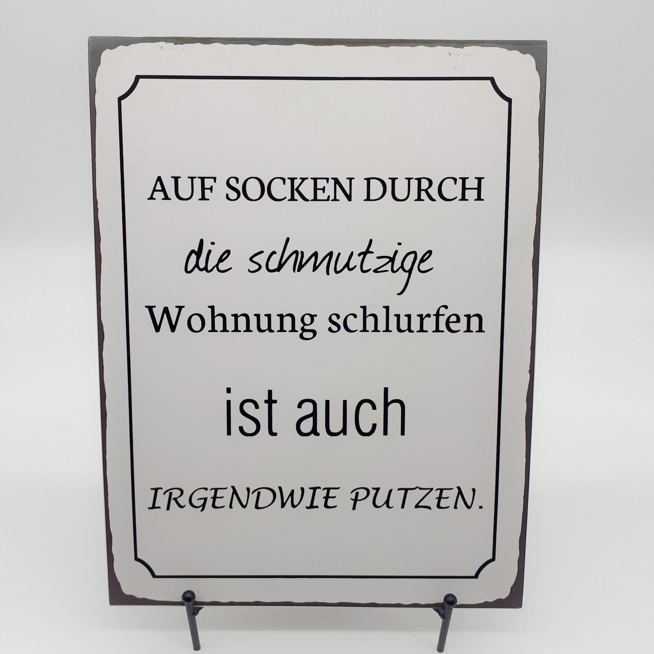 """Blechschild """"Auf Socken"""" Bild 1"""