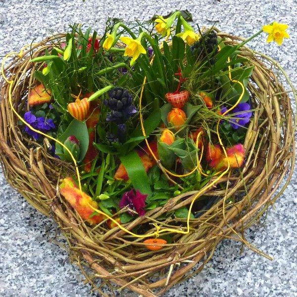 Herz bepflanzt mit Frühlingsblumen Bild 1