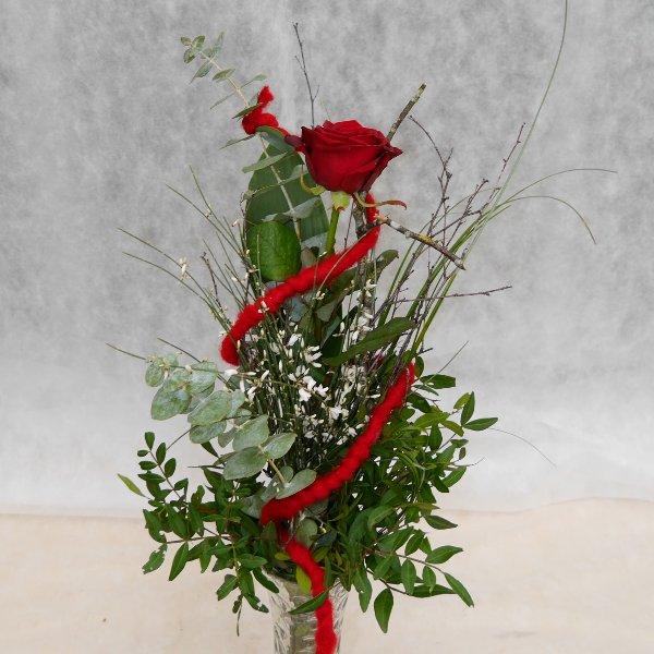 Rosengruß 1 Rose mit Vase Bild 2