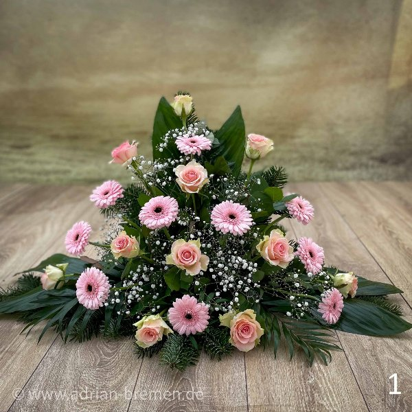 Trauergesteck, Rosé Töne Bild 1