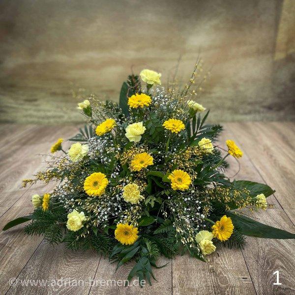 Trauergesteck, Gelben Töne Bild 1