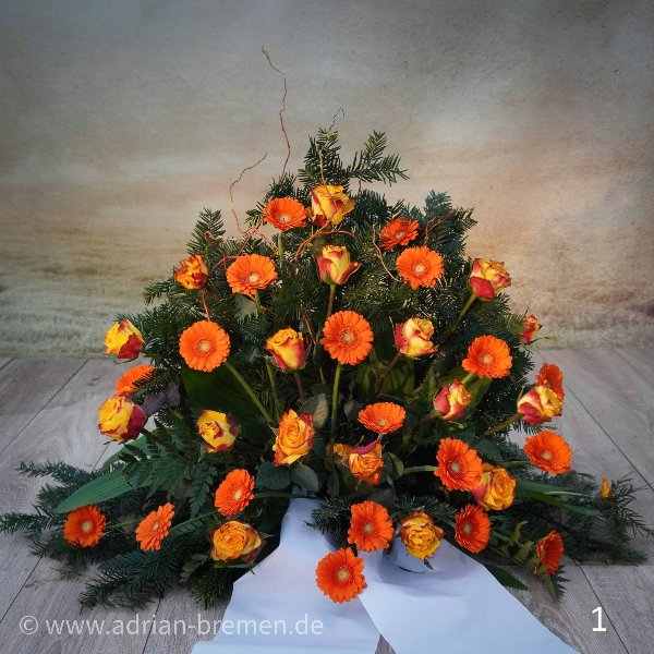 Trauergesteck, Orange Töne Bild 1