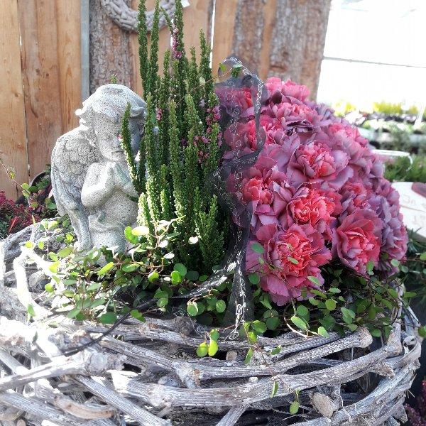 Bepflanzter Korb mit frischen Blumen Bild 1