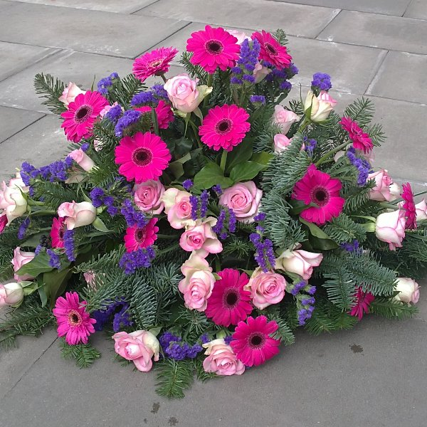 Trauergebinde rosa-blau Bild 1