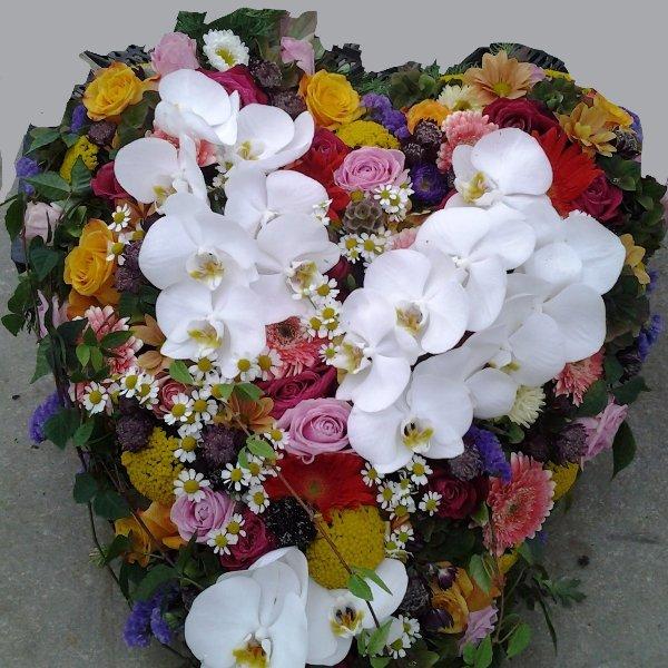 gestecktes Herz mit Orchideen Bild 1