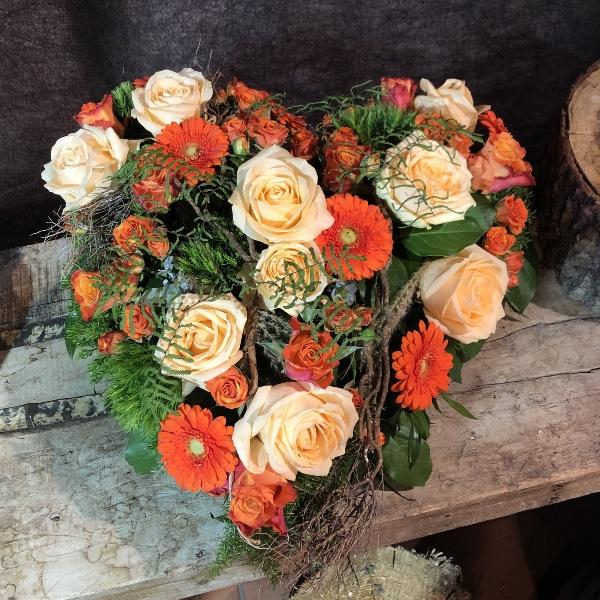 Trauer-Herz in orange-Tönen Bild 1