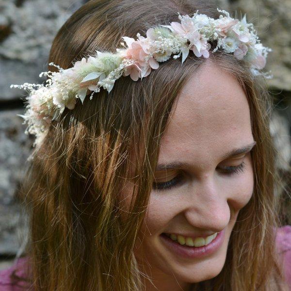 Trockenblumen Haarkranz `Leonie` Bild 1