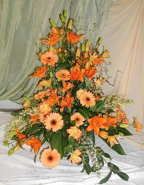Blumengesteck, groß, orange Bild 1