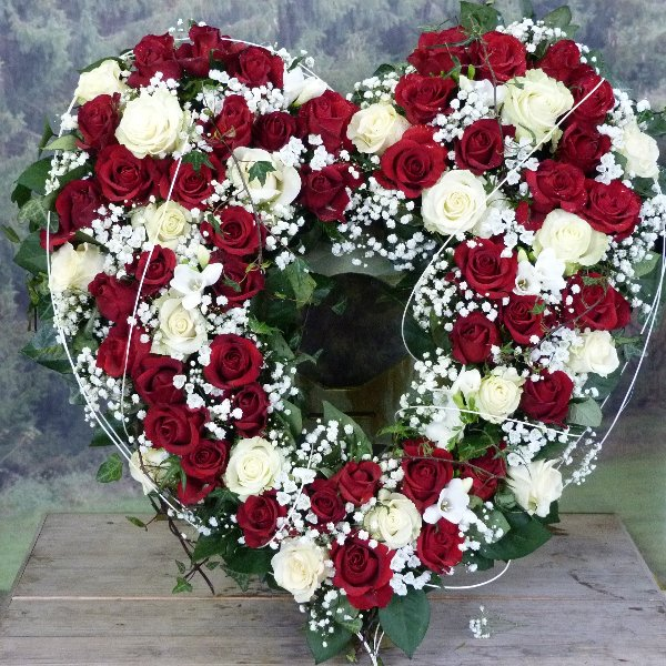 Herzförmiger Urnenkranz rot/weiß Bild 1