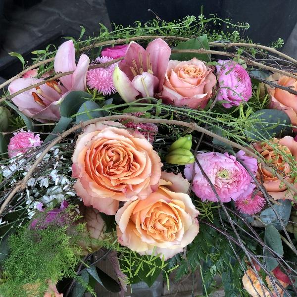 Kranz in apricot-rosa-Tönen Bild 2
