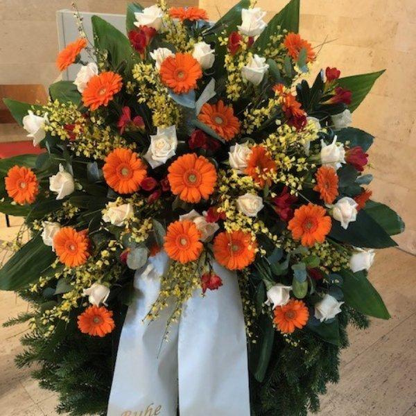 Trauerkranz orange-creme Bild 1