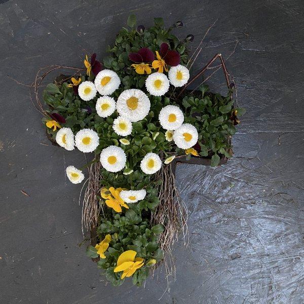 Kompostierbares Kreuz, frühlingshaft bepflanzt Bild 1