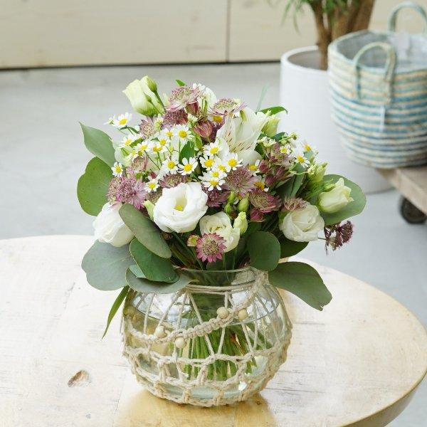 "Makramee-Glas ""Blütentraum"" Bild 1"