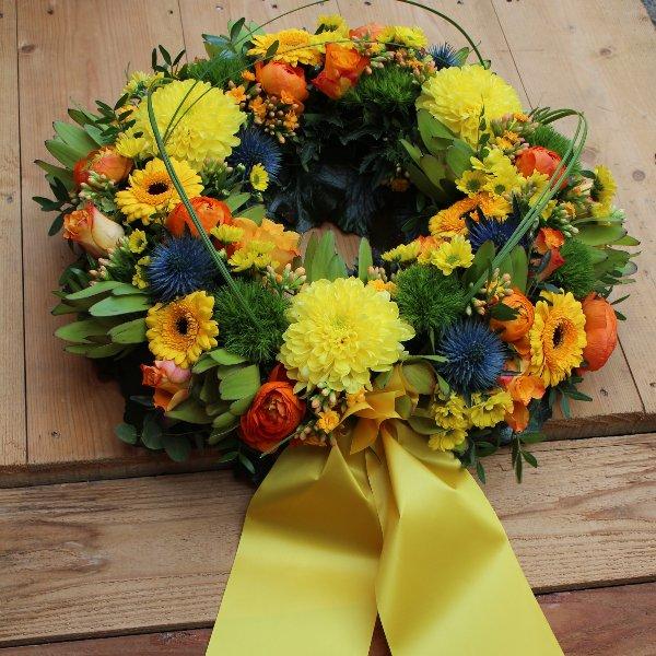 Trauerkranz gelb-orange Bild 1