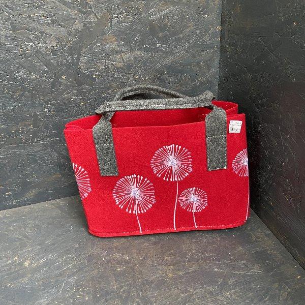 Filztasche rot, mit Pusteblume Bild 1