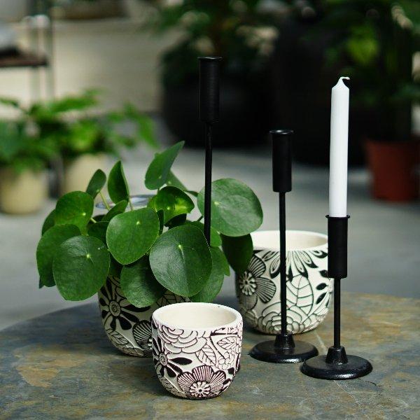 Kerzenleuchter Steel und Übertöpfe Flora Bild 1