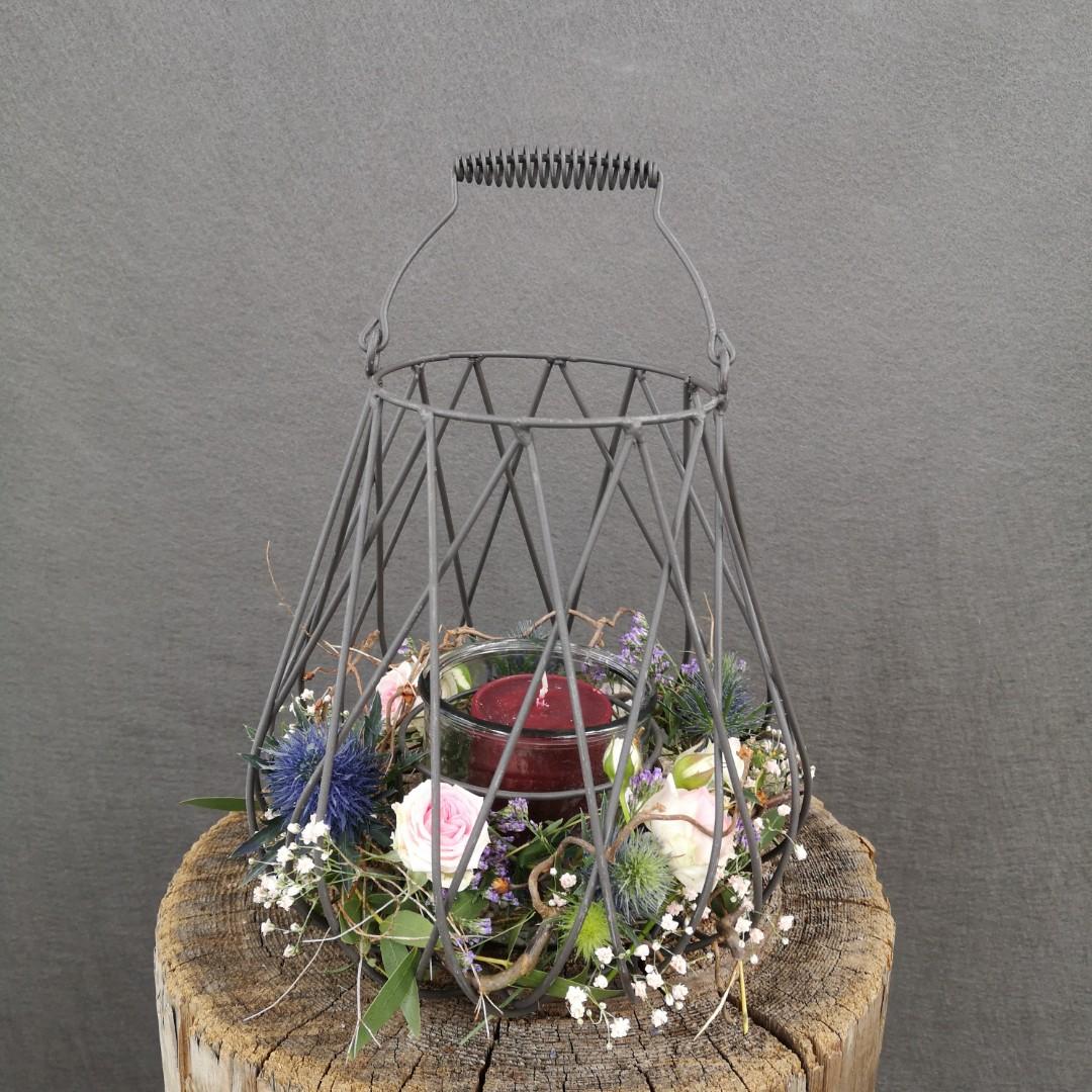 Windlicht zum Grillfest mit Stumpen Kerze Bild 1