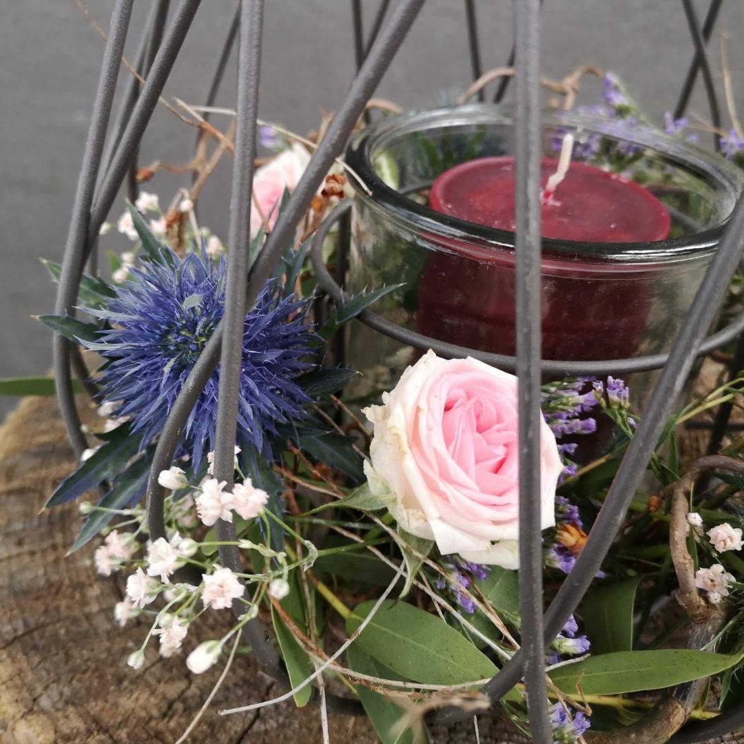 Windlicht zum Grillfest mit Stumpen Kerze Bild 2
