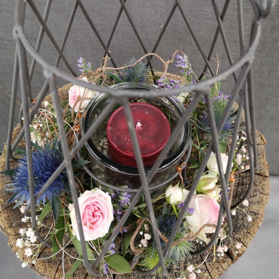 Windlicht zum Grillfest mit Stumpen Kerze Bild 3