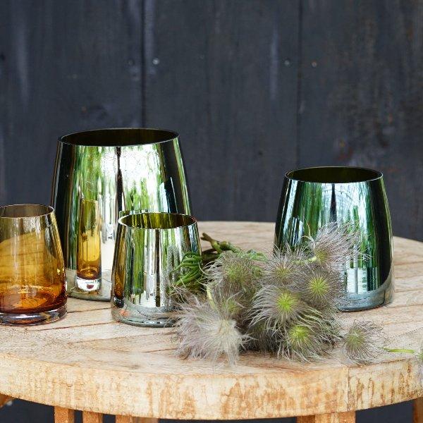 """Glasvase """"Olive luster"""" kegelförmig Bild 1"""