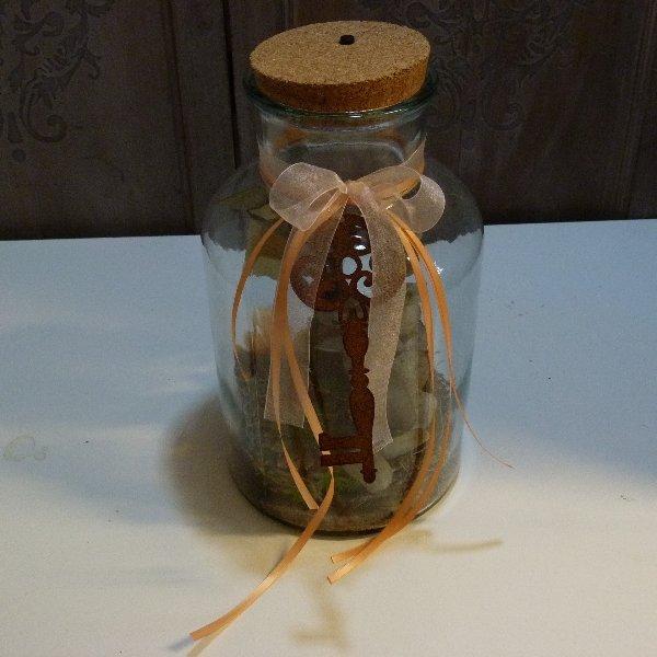 Flaschenförmiges Gefäß mit LED Beleuchtung im Korkdeckel Bild 2