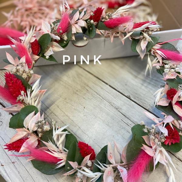 DIY Box Trockenblumenkranz pink Bild 1