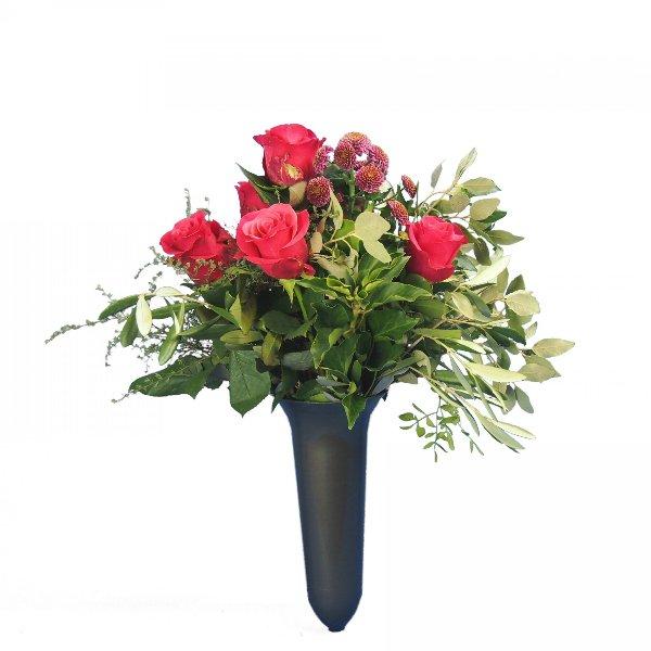 Grabstrauß mit Rosen und Santini magentafarben Bild 1