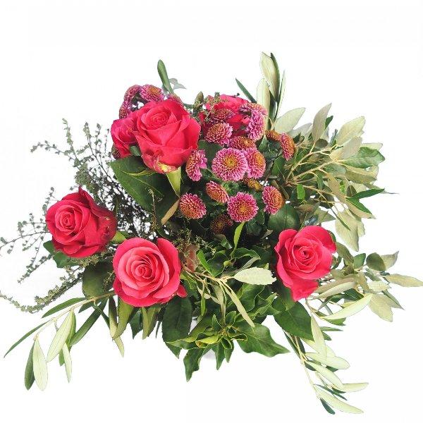 Grabstrauß mit Rosen und Santini magentafarben Bild 2