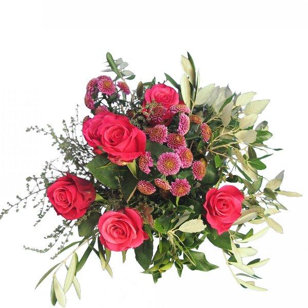 Grabstrauß mit Rosen und Santini magentafarben Bild 3