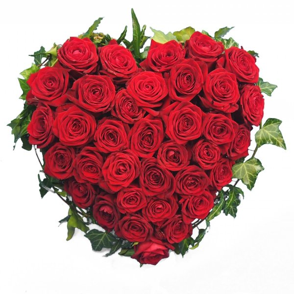 Herzform mit roten Rosen I Bild 1